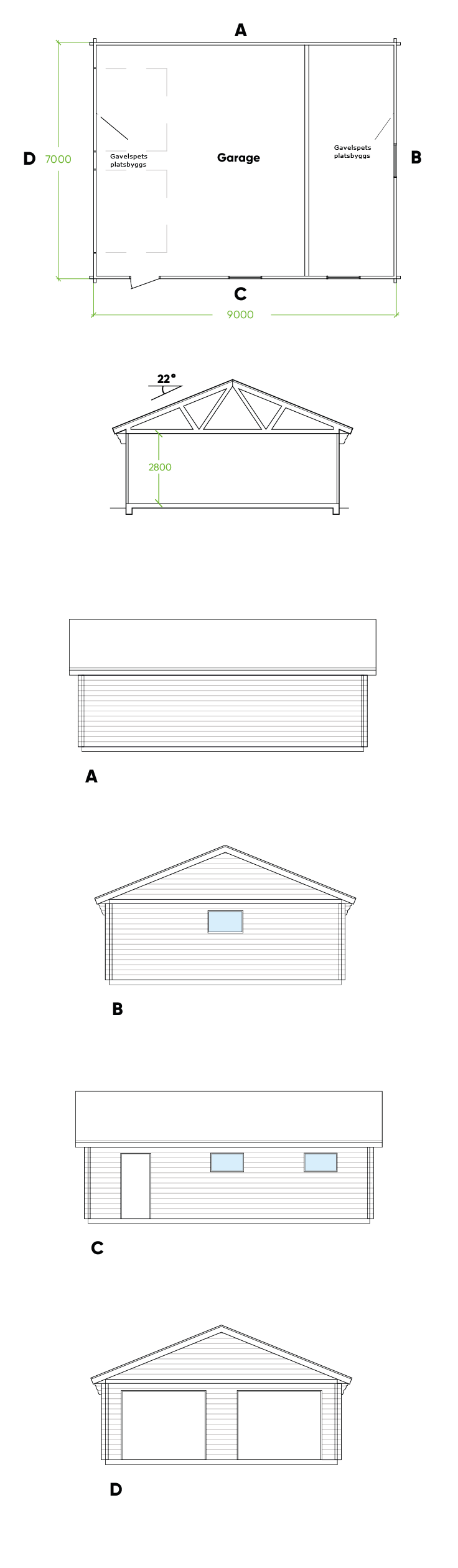 Planritning Garage Bygg & Trä